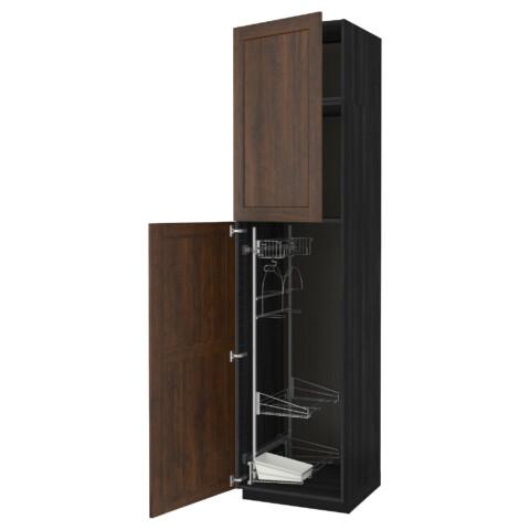 Высокий шкаф с отделением для аксессуаров, для уборки МЕТОД черный артикуль № 991.642.81 в наличии. Интернет сайт IKEA Республика Беларусь. Недорогая доставка и установка.