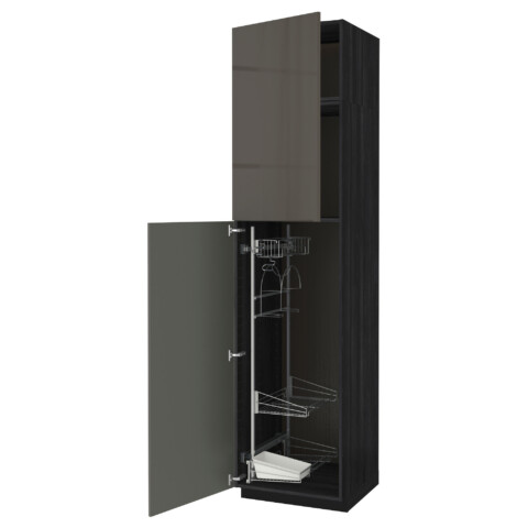 Высокий шкаф с отделением для аксессуаров, для уборки МЕТОД черный артикуль № 991.642.95 в наличии. Online магазин IKEA РБ. Быстрая доставка и соборка.