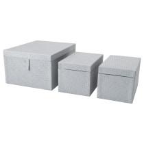 Набор коробок, 3 шт. БАТТИНГ серый артикуль № 003.273.19 в наличии. Онлайн сайт IKEA РБ. Быстрая доставка и установка.