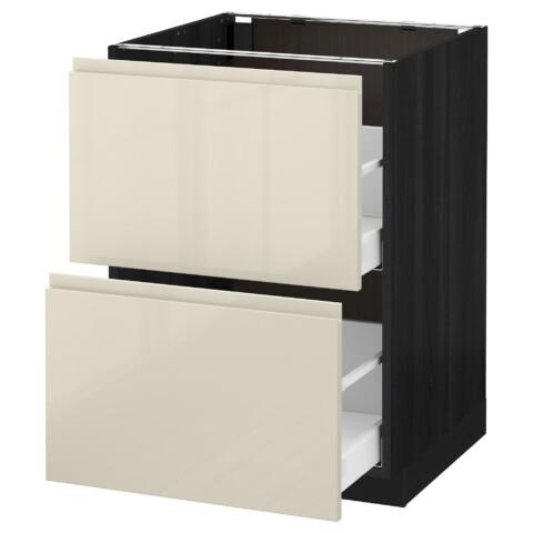 Напольный шкаф 2 форнтальных, 2 высоких ящик МЕТОД / МАКСИМЕРА черный артикуль № 391.680.22 в наличии. Online каталог IKEA РБ. Быстрая доставка и установка.
