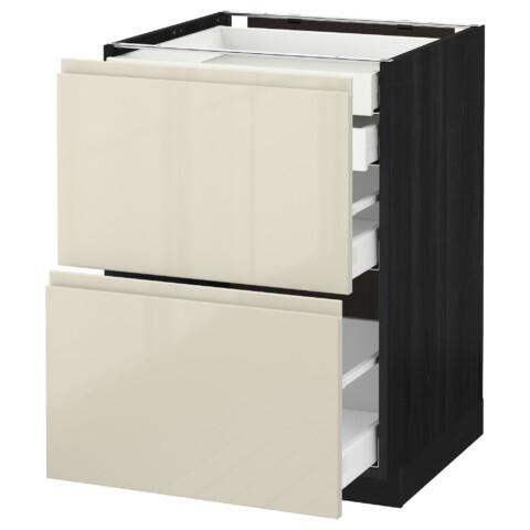 Напольный шкаф 2 фронтальные панели, 2 нижних, 1 средний, 1 высокий ящик МЕТОД / МАКСИМЕРА черный артикуль № 091.680.28 в наличии. Онлайн сайт IKEA Республика Беларусь. Недорогая доставка и соборка.
