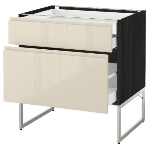 Напольный шкаф 2 фронтальных панели, 2 нижних,1 встроенный ящик МЕТОД / МАКСИМЕРА черный артикуль № 991.680.95 в наличии. Онлайн каталог IKEA Беларусь. Недорогая доставка и монтаж.