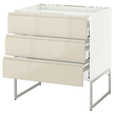 Напольный шкаф, 3 фронтальных панели, 3 ящика МЕТОД / МАКСИМЕРА белый артикуль № 991.681.42 в наличии. Онлайн сайт IKEA Минск. Недорогая доставка и соборка.