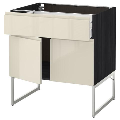 Напольный шкаф, полки, ящик, 2 двери МЕТОД / МАКСИМЕРА черный артикуль № 591.680.64 в наличии. Онлайн магазин IKEA РБ. Быстрая доставка и монтаж.