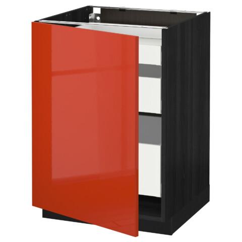 Напольный шкаф с 1 дверцей, 3 ящика МЕТОД / МАКСИМЕРА черный артикуль № 391.687.67 в наличии. Интернет сайт IKEA РБ. Быстрая доставка и соборка.