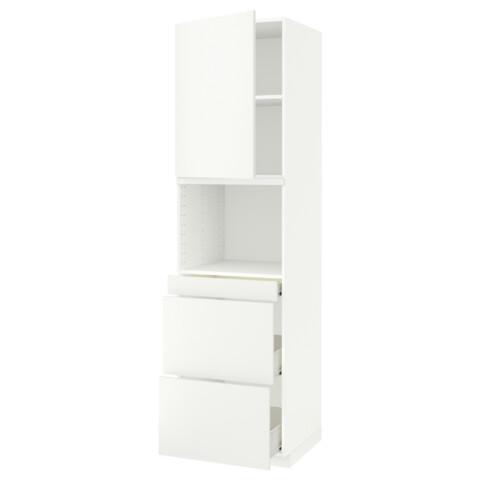 Высокий шкаф для СВЧ/дверца, 3 ящика МЕТОД / ФОРВАРА белый артикуль № 491.709.39 в наличии. Онлайн магазин IKEA Беларусь. Недорогая доставка и установка.