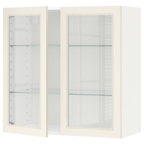 Навесной шкаф с полками, 2 стекло дверцы МЕТОД белый артикуль № 190.541.06 в наличии. Онлайн магазин ИКЕА РБ. Быстрая доставка и монтаж.