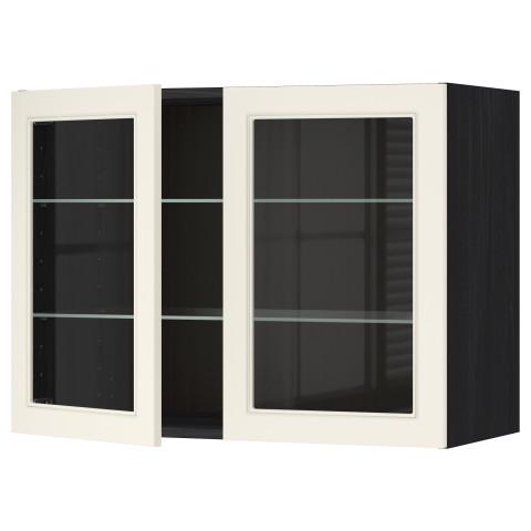 Навесной шкаф с полками, 2 стекло дверцы МЕТОД черный артикуль № 190.555.25 в наличии. Интернет каталог IKEA РБ. Быстрая доставка и соборка.