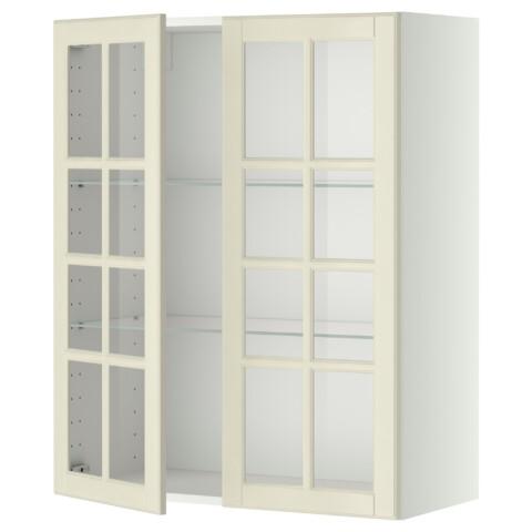 Навесной шкаф с полками, 2 стекло дверцы МЕТОД белый артикуль № 299.075.20 в наличии. Online каталог ИКЕА РБ. Недорогая доставка и установка.