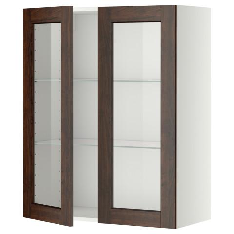 Навесной шкаф с полками, 2 стекло дверцы МЕТОД белый артикуль № 299.191.46 в наличии. Online магазин IKEA Республика Беларусь. Быстрая доставка и установка.