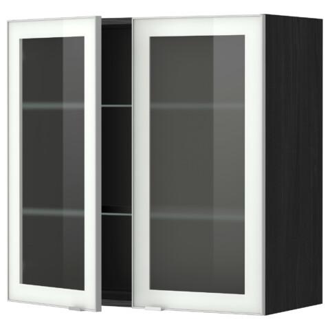 Навесной шкаф с полками, 2 стекло дверцы МЕТОД черный артикуль № 399.198.53 в наличии. Онлайн магазин IKEA РБ. Недорогая доставка и монтаж.