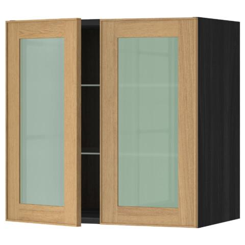 Навесной шкаф с полками, 2 стекло дверцы МЕТОД черный артикуль № 490.549.68 в наличии. Онлайн каталог ИКЕА РБ. Быстрая доставка и установка.