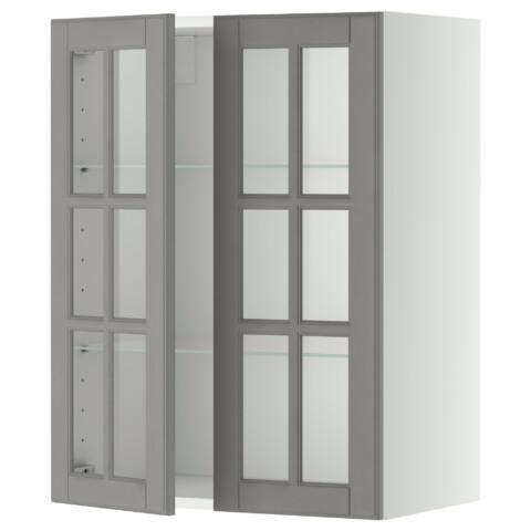 Навесной шкаф с полками, 2 стекло дверцы МЕТОД серый артикуль № 499.186.69 в наличии. Online магазин IKEA Беларусь. Недорогая доставка и монтаж.