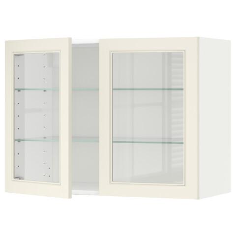Навесной шкаф с полками, 2 стекло дверцы МЕТОД белый артикуль № 690.541.04 в наличии. Онлайн сайт ИКЕА Беларусь. Недорогая доставка и установка.