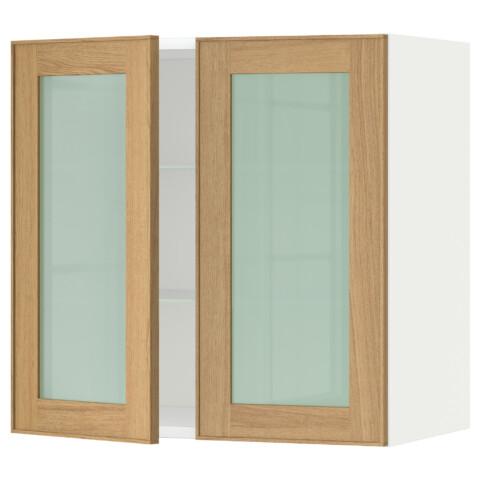 Навесной шкаф с полками, 2 стекло дверцы МЕТОД белый артикуль № 790.532.41 в наличии. Интернет сайт IKEA Минск. Быстрая доставка и соборка.