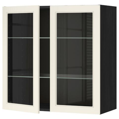 Навесной шкаф с полками, 2 стекло дверцы МЕТОД черный артикуль № 790.555.27 в наличии. Онлайн каталог IKEA Беларусь. Недорогая доставка и монтаж.