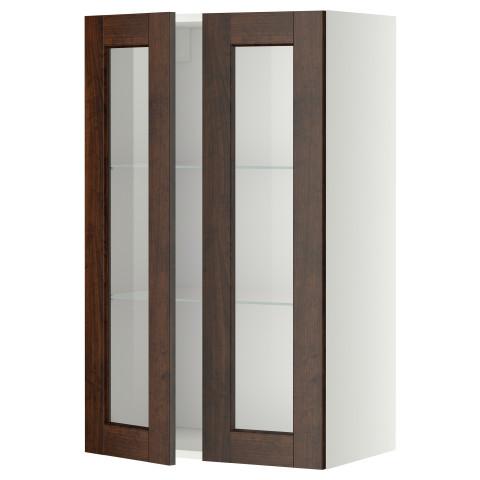 Навесной шкаф с полками, 2 стекло дверцы МЕТОД белый артикуль № 799.191.44 в наличии. Интернет магазин IKEA Беларусь. Быстрая доставка и установка.