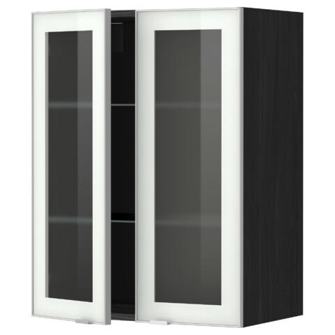 Навесной шкаф с полками, 2 стекло дверцы МЕТОД черный артикуль № 799.198.51 в наличии. Онлайн сайт IKEA Республика Беларусь. Быстрая доставка и монтаж.