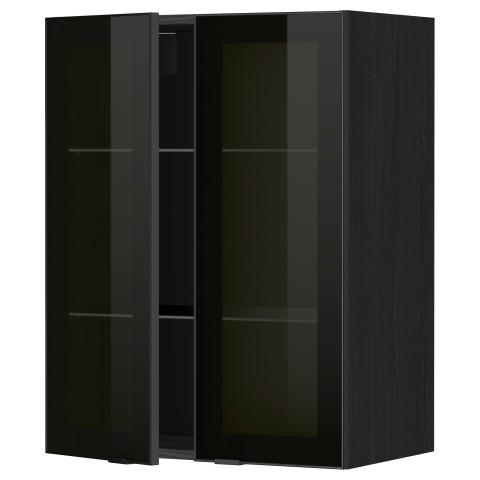 Навесной шкаф с полками, 2 стекло дверцы МЕТОД черный артикуль № 799.198.89 в наличии. Online каталог IKEA РБ. Быстрая доставка и установка.