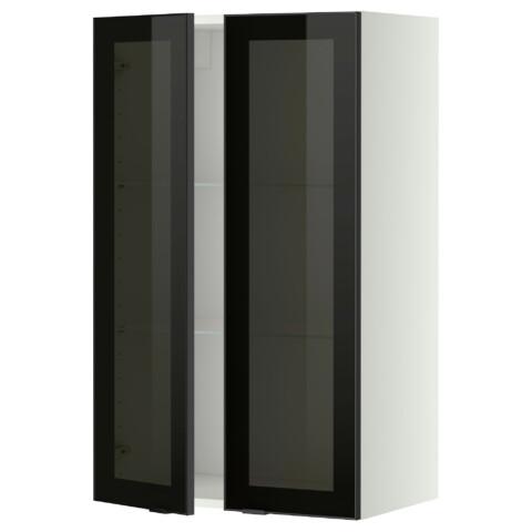 Навесной шкаф с полками, 2 стекло дверцы МЕТОД белый артикуль № 799.198.94 в наличии. Интернет сайт IKEA Минск. Быстрая доставка и установка.