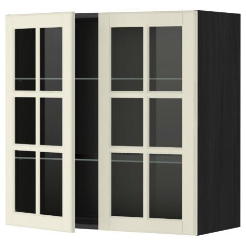 Навесной шкаф с полками, 2 стекло дверцы МЕТОД черный артикуль № 899.075.03 в наличии. Онлайн магазин IKEA Республика Беларусь. Недорогая доставка и установка.