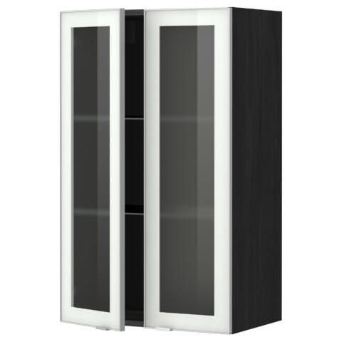 Навесной шкаф с полками, 2 стекло дверцы МЕТОД черный артикуль № 899.198.55 в наличии. Онлайн магазин IKEA Минск. Быстрая доставка и соборка.