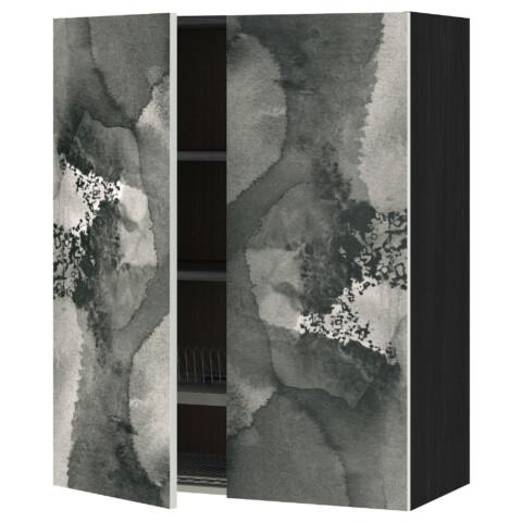 Навесной шкаф с посудной сушилкой, 2 дверцы МЕТОД черный артикуль № 191.589.48 в наличии. Интернет каталог IKEA РБ. Быстрая доставка и соборка.