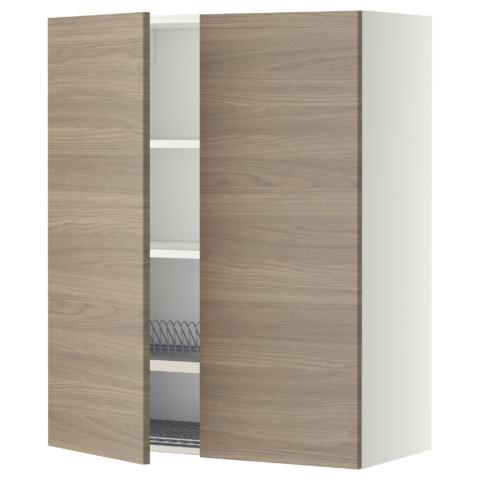 Навесной шкаф с посудной сушилкой, 2 дверцы МЕТОД белый артикуль № 399.232.99 в наличии. Интернет магазин IKEA Минск. Быстрая доставка и монтаж.