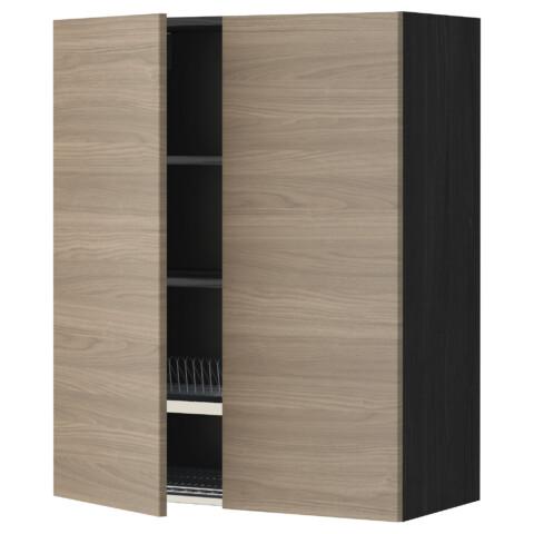 Навесной шкаф с посудной сушилкой, 2 дверцы МЕТОД черный артикуль № 599.232.98 в наличии. Online сайт ИКЕА РБ. Недорогая доставка и соборка.