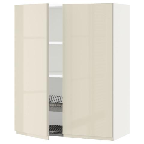 Навесной шкаф с посудной сушилкой, 2 дверцы МЕТОД белый артикуль № 691.432.52 в наличии. Online магазин ИКЕА Беларусь. Быстрая доставка и установка.