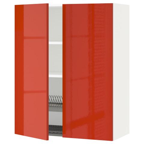 Навесной шкаф с посудной сушилкой, 2 дверцы МЕТОД оранжевый артикуль № 791.588.08 в наличии. Online сайт ИКЕА Минск. Недорогая доставка и установка.