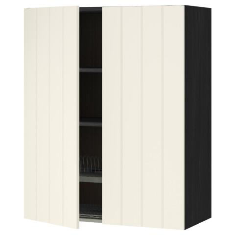 Навесной шкаф с посудной сушилкой, 2 дверцы МЕТОД черный артикуль № 890.555.55 в наличии. Интернет каталог IKEA Беларусь. Быстрая доставка и установка.