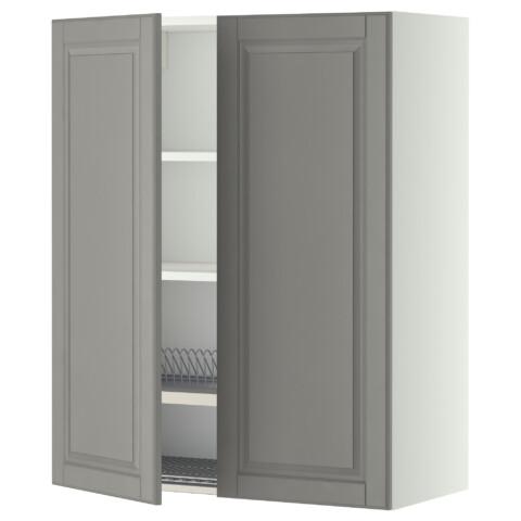 Навесной шкаф с посудной сушилкой, 2 дверцы МЕТОД серый артикуль № 899.233.91 в наличии. Интернет сайт ИКЕА РБ. Недорогая доставка и соборка.