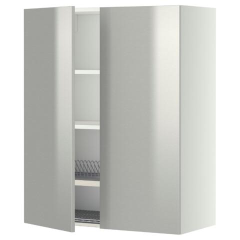 Навесной шкаф с посудной сушилкой, 2 дверцы МЕТОД белый артикуль № 899.267.33 в наличии. Online магазин IKEA Минск. Недорогая доставка и соборка.