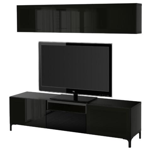 Шкаф для ТВ, комбинированный, стекляные дверцы БЕСТО артикуль № 090.729.07 в наличии. Online каталог IKEA Минск. Недорогая доставка и установка.