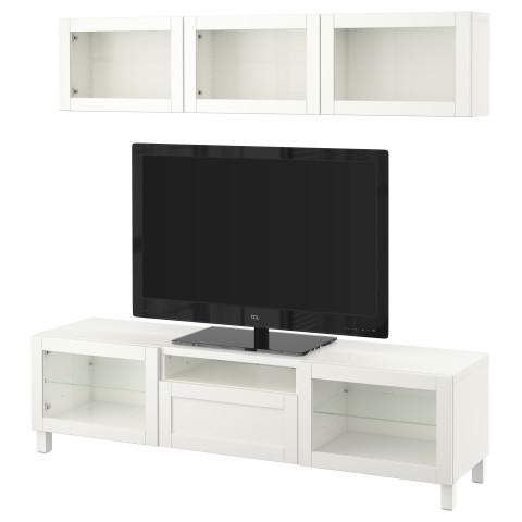 Шкаф для ТВ, комбинированный, стекляные дверцы БЕСТО артикуль № 190.726.38 в наличии. Online каталог IKEA РБ. Быстрая доставка и монтаж.