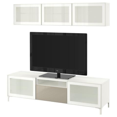 Шкаф для ТВ, комбинированный, стекляные дверцы БЕСТО белый артикуль № 290.672.07 в наличии. Интернет магазин IKEA Минск. Быстрая доставка и монтаж.