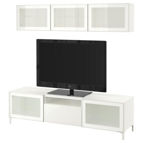 Шкаф для ТВ, комбинированный, стекляные дверцы БЕСТО белый артикуль № 290.672.12 в наличии. Онлайн каталог IKEA Минск. Быстрая доставка и монтаж.