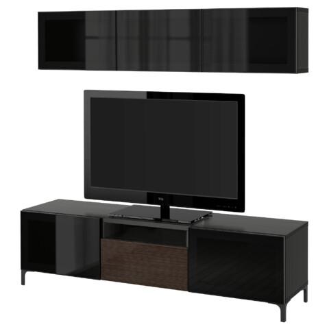 Шкаф для ТВ, комбинированный, стекляные дверцы БЕСТО артикуль № 390.671.84 в наличии. Интернет каталог IKEA РБ. Недорогая доставка и монтаж.