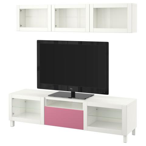 Шкаф для ТВ, комбинированный, стекляные дверцы БЕСТО розовый артикуль № 390.729.01 в наличии. Online магазин IKEA Беларусь. Недорогая доставка и соборка.
