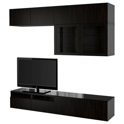 Шкаф для ТВ, комбинированный, стекляные дверцы БЕСТО артикуль № 390.986.75 в наличии. Онлайн сайт IKEA Республика Беларусь. Недорогая доставка и установка.