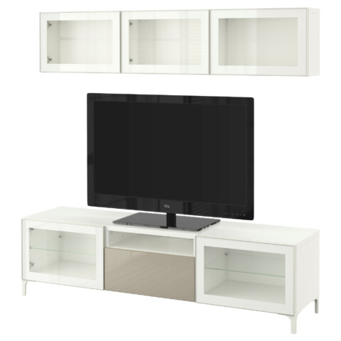 Шкаф для ТВ, комбинированный, стекляные дверцы БЕСТО белый артикуль № 490.671.93 в наличии. Интернет магазин IKEA Минск. Быстрая доставка и соборка.