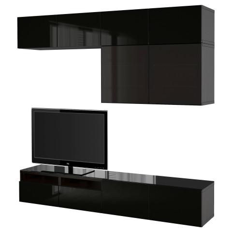 Шкаф для ТВ, комбинированный, стекляные дверцы БЕСТО артикуль № 490.986.70 в наличии. Online сайт IKEA Минск. Недорогая доставка и установка.