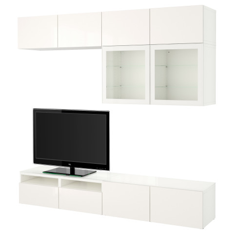 Шкаф для ТВ, комбинированный, стекляные дверцы БЕСТО белый артикуль № 790.986.64 в наличии. Online магазин IKEA РБ. Быстрая доставка и соборка.
