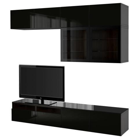 Шкаф для ТВ, комбинированный, стекляные дверцы БЕСТО артикуль № 790.987.20 в наличии. Online сайт ИКЕА Минск. Недорогая доставка и установка.
