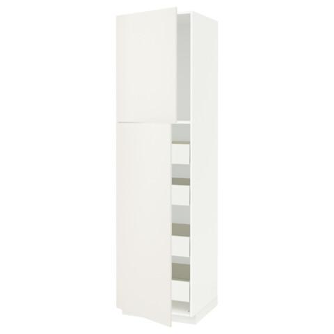 Высокий шкаф/2дверцы/4ящика МЕТОД / ФОРВАРА белый артикуль № 991.629.65 в наличии. Онлайн магазин IKEA Минск. Быстрая доставка и монтаж.