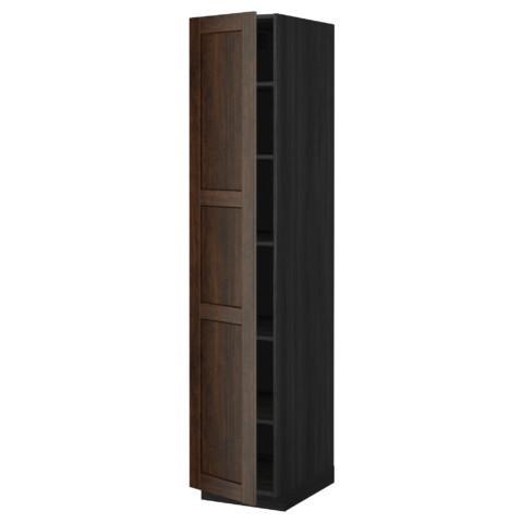Высокий шкаф с полками МЕТОД черный артикуль № 099.219.61 в наличии. Онлайн магазин ИКЕА РБ. Недорогая доставка и соборка.