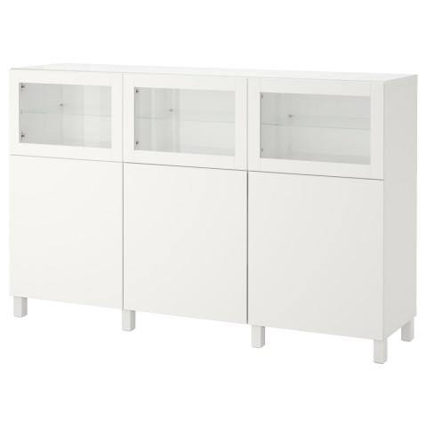 Комбинация для хранения с дверцами БЕСТО белый артикуль № 492.083.48 в наличии. Online сайт IKEA Минск. Недорогая доставка и установка.