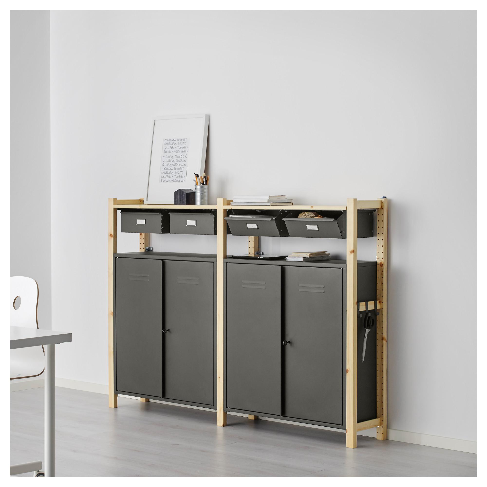 2 секции, полки/шкафы ИВАР серый артикуль № 691.837.09 в наличии. Онлайн каталог IKEA Беларусь. Быстрая доставка и монтаж.