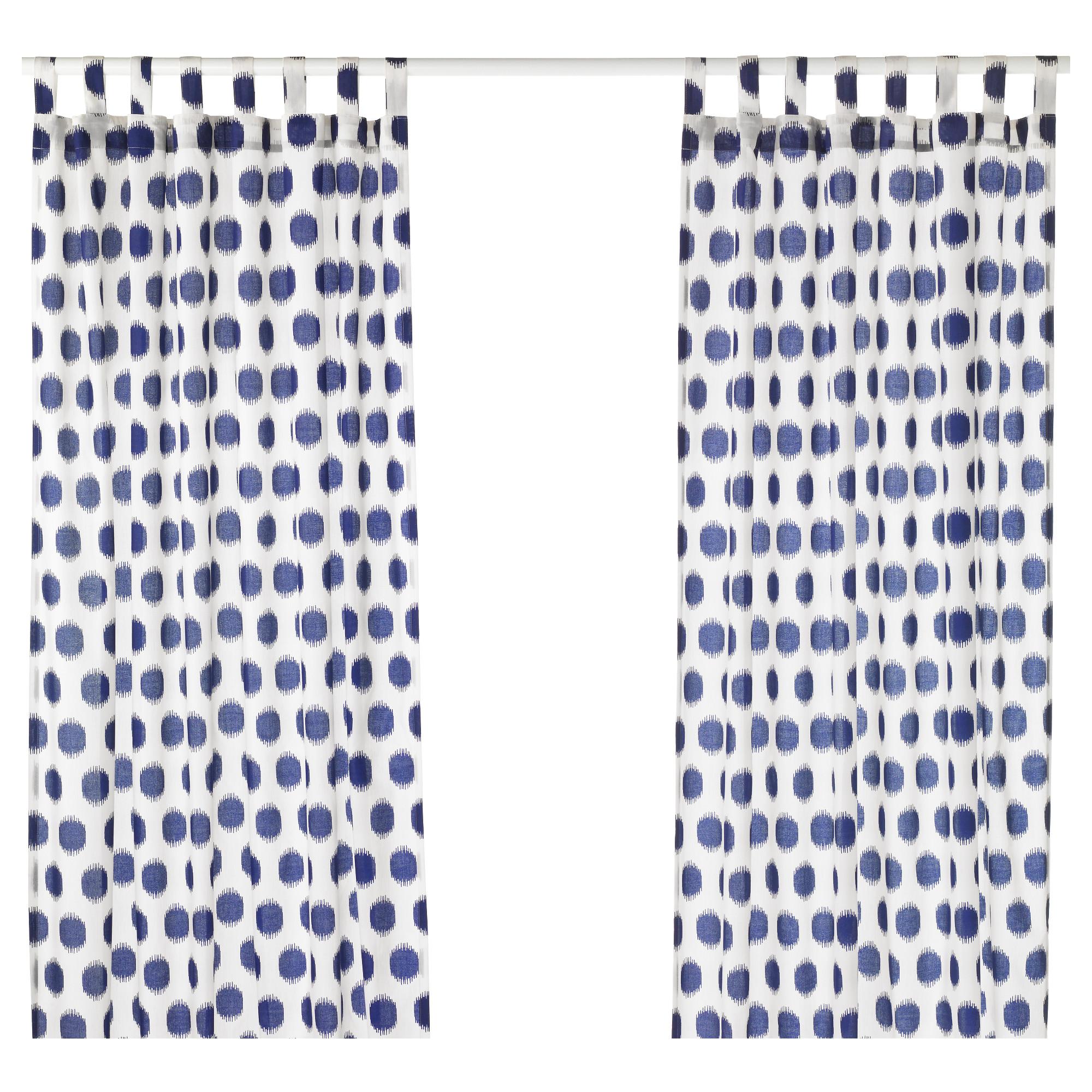 Гардины, 1 пара СОММАР 2017, белый/синий (145×300 см)